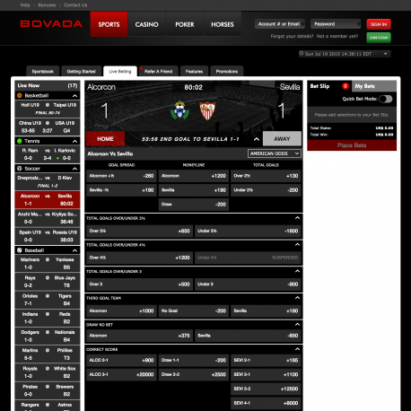 Bovada/bodog live sports betting